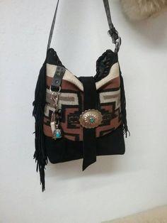 83077661f039 Navajo Rug Fringed Shoulder Bag   Purse. Cowhide Leather ...