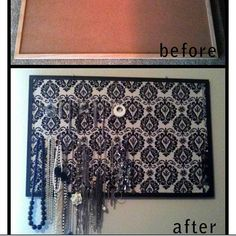 Cork Board Jewelry Organizer... like the fabric background idea