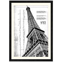 This architectural wall art giclee print of the Eiffel Tower presents a strong diagonal composition in black and white under glass encased in a dark finish frame.