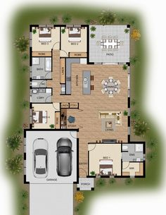 I would change br 4 into a mud room with connection to the garage and increase the study area a bit into what's currently br Other than that, I like this layout. colour floor plan for a home building company - Innisfail QLD Bungalow House Plans, New House Plans, Dream House Plans, House Floor Plans, 3d Architectural Rendering, 3d Architectural Visualization, 3d Rendering, The Plan, How To Plan