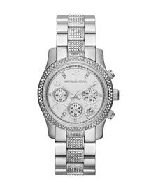 Michael Kors Mid-Size Silver Color Stainless Steel Runway Chronograph Glitz Watch