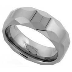 8mm Tungsten Wedding Band Faceted Dome Circular Patterns Comfort fit, sizes 7 to 14