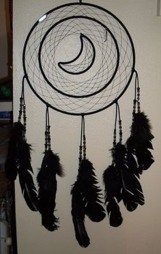 Huge all black dream catcher-I CAN MAKE THIS AGAIN IF ANYONE IS INTERESTED.  JUST CONTACT ME.