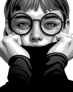 Portrait Vector, Portrait Sketches, Digital Portrait, Art Drawings Sketches, Illustration Vector, Portrait Illustration, Vector Art, Drawing Cartoon Faces, 3d Art Drawing