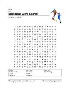 Free Printable Basketball Word Search | SPED CLASSROOM ...