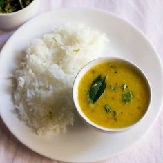 Steamed rice and dal fry