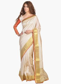 Lovely White Lace Work Casual Saree
