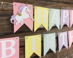 Happy Birthday Unicorn Party Banner - First Birthday, Baby Shower, Birthday Party, Rainbow Party, Photo Prop Cute Happy Birthday, 1st Birthday Girls, Happy Birthday Banners, Unicorn Birthday Parties, Unicorn Party, Birthday Decorations, Rainbow Unicorn, Birthday Ideas, Unicorn Banner
