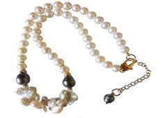 Crazy keshi & Tahitian pearls on round Freshwater pearls with extender chain.