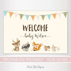 Woodland Baby Shower Backdrop - Baby shower Backdrop - Printable Backdrop - Personalized Backdrop - Woodland Baby Shower