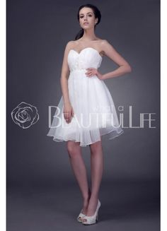 $126.99  Simple Sweetheart Satin And Organza A-Line #Wedding #Dress With Appliques Mini Wedding Dresses, Prom Party Dresses, Designer Wedding Dresses, Bridal Dresses, Bridesmaid Dresses, Gown Wedding, Lace Wedding, Satin, Ball Gowns