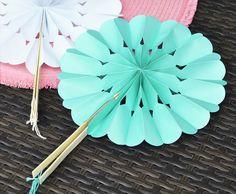 25 Rosette Paper Hand Fans for weddings by LittleThingsFavors, $31.25