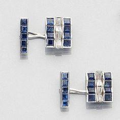 A pair of diamond and sapphire cufflinks,