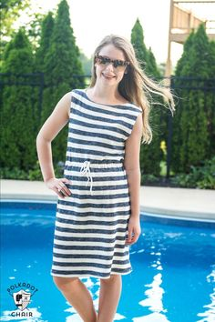 A free sewing pattern for an easy swimsuit cover up. great summer sundress patterns, how to sew a swim cover up or summer sundress