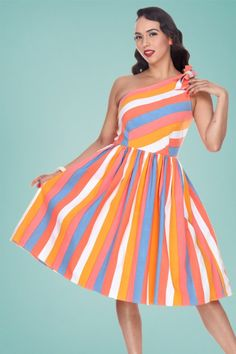 0638cfc0f9fd1 50s Belinda Swing Dress in Sherbet Stripe