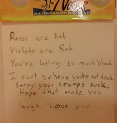 This husband, who leaves encouraging notes during that time of the month: 15 Seriously Funny Notes Husbands And Boyfriends Left Their Partners Bloo Me, Man In Love, Love You, Funny Note, Get Off Me, Cute Notes, Seriously Funny, Boyfriend Humor, Good Parenting