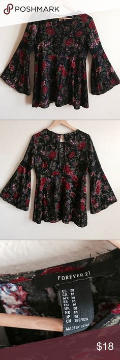 Forever 21 womens  Blouse Black Floral Sz M Forever 21 womens Top Blouse Black Floral Bell Sleeve Boho Festival Peasant Sz M    {M E A S U R E M E N T S}  Underarm to underarm: 19 inches Length: 29 1/2 Sleeve Length: 22 inches Bell Sleeve Opening: 12 1/2 Waist (laying flat): 17 1/2  Thank you for visiting us. Customer service is  very important to me, if there is any questions in regards to any product or your purchase please message me.     **All reasonable offers will be accepted** Forever…