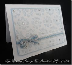 clean and simple handmade card ... stamped patterned paper with rhinestones ... luv the perfect two loop bow ... Stampin' Up!