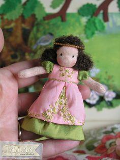 Waldorf inspired cloth tiny doll by Lalinda.pl