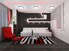Colorful Rugs, Sofas and Ceiling Lighting at Small Apartment Ideas for Young Bachelor