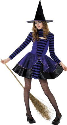 Lila och svart häxa - utklädnad tonåring Halloween 6e6838e829202