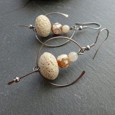 Earrings cream / beige, natural stone and stainless steel
