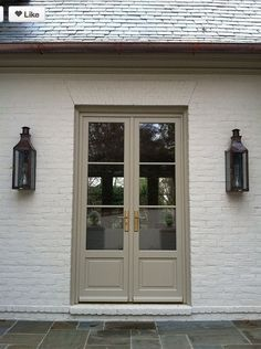 """While some styles are trendy or """"hip"""", I truly feel that white painted brick is something I would NEVER tire of. Add a warm gray trim, a spacious front porch… White Exterior Paint, Exterior Paint Colors For House, Exterior Trim, Paint Colors For Home, Exterior Colors, Brown Brick Exterior, Paint Colours, Brown Brick Houses, Brick Ranch Houses"""
