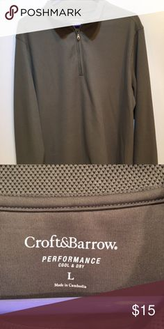 972d438c470b Croft   Barrow Men s Polo Shirt Long Sleeve This men s shirt is a greenish  gray color