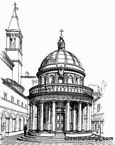 The first architecture post on this board.  There could be no other better place to start than Bramante's Tempietto de San Pietro.