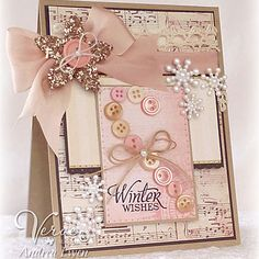 Winter Wishes - I like the idea of the button candy cane but think it would stand out better in red and white