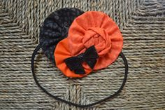 Orange and Black Leopard Fabric Flower Headband  by TheKeenBean, $7.75
