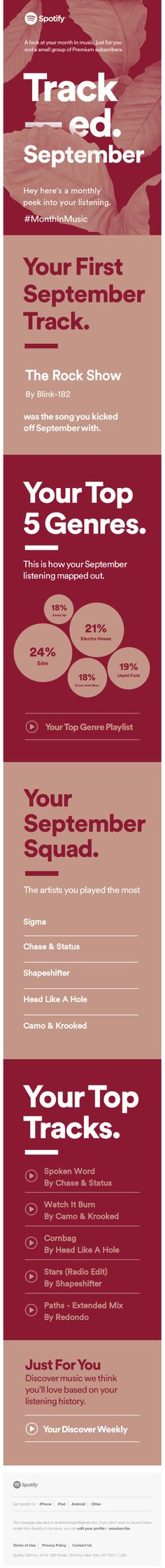 Love the personalized data visualization in this Spotify email