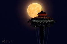 Photography by Quynh Ton - Supermoon over Space Needle, in Seattle. One of the best photos yet of the supermoon. One shot image, not a composite.