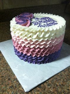 Love the purple ombre ruffles! Birthday Cakes for Adults - Creme de la Creme Cakery