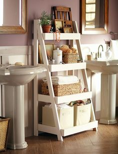 Bathroom Storage Solutions - 10 Clever Ideas You Need To Clever Bathroom Storage Solutions. What home couldn't use more storage in the bathroom! Check out these creative bathroom storage ideas! Clever Bathroom Storage, Bathroom Storage Solutions, Diy Storage, Ladder Storage, Bathroom Shelves, Bath Storage, Ladder Shelves, Pedestal Sink Storage, Diy Shelving