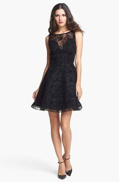 Alice + Olivia 'Natalia' Open Back A-Line Lace Dress available at #Nordstrom