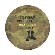 Army Camouflage Military Boots Paper Plate #RusticArmyTheme #KidsArmyPlates #MilitaryBirthdayPlates