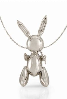 """Jeff Koons Rabbit Necklace, 2005-2009, platinum. Collection Diane Venet, Exhibited """"From Picasso to Koons: The Artist as Jeweler"""", The Bass Museum"""