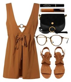 """""""Nirvana"""" by smartbuyglasses ❤ liked on Polyvore featuring Ray-Ban, Chloé, Becca, Max Factor, black and brown"""