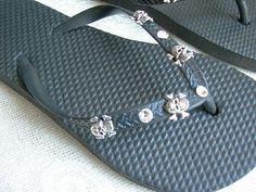 Skull and Crossbones with Swarovski crystal flip flops on Ebay.com at seller LolaRachel954