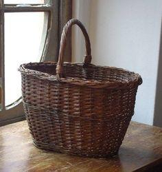 フランスアンティークバスケットかごパニエ ブロカント インテリア 雑貨 家具 Antique pannier basket ¥12800yen 〆04月29日