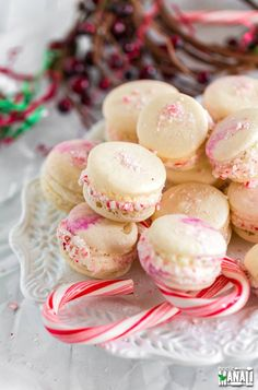 Peppermint Macarons are the perfect festive treat for the Holidays. The macarons are filled with peppermint buttercream and rolled in crushed candy canes!