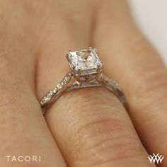Tacori 57-2PR Sculpted Crescent Elevated Crown for Princess Diamond Engagement Ring