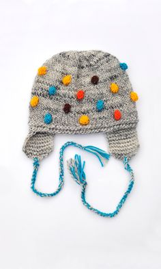 Knitted Toddlers Kids Childrens Boys Girls Baby Hat, Grey with Blue - Turqouise Yellow Brown Orange Bobbles with EarFlap, 12m-18m, 2T, 3T-4T. $25.00, via Etsy.