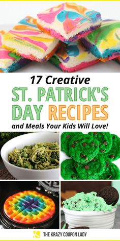 Looking for St Patrick's Day food or crafts for kids? Make these festive St Patty's Day recipes with your kids or as a fun holiday surprise for your children and family. Go for gold, green, orange, and rainbow overload with these St. Patrick's sweet treats, fun kid's breakfasts, traditional Irish dishes for supper or dinner, and easy St Patrick's Day food for kids and festive holiday snacks. Your kids will love these recipes and meals from The Krazy Coupon Lady. Holiday Snacks, Holiday Fun, Festive, Easter Crafts For Kids, Easter Ideas, Yummy Treats, Sweet Treats, St Patricks Day Food, Going For Gold