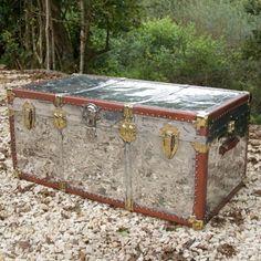 A high quality polished aluminium travelling trunk c1930 - Andrew Nebbett Antiques