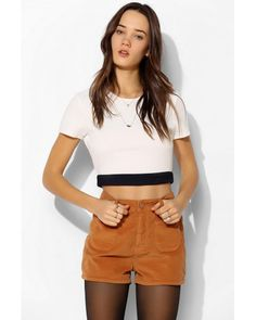 UO | Brown High Rise 70s Cord Short