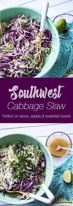 Southwest Cabbage Slaw | paleo recipes | whole30 recipes | cabbage recipes | taco recipes | perrysplate.com