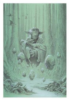 YODA: Meditating on Dagobah. Commission 10x15 Acrylic on illustration board.