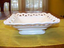 "Fostoria White Milk Glass Serving dish Compote 8.5"" x 9.5"" x 3"" tall"